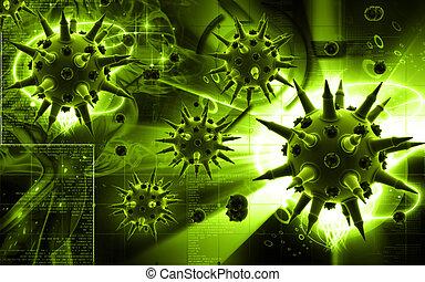 Flu virus - Digital illustration of Flu virus in colour...