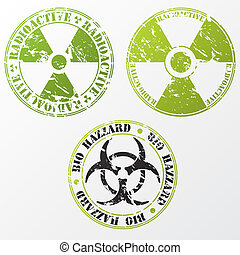 Bio hazard and radioactive stamp set - Grunge bio hazard and...