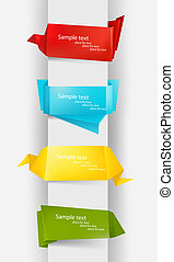 Huge set of colorful origami paper banners. Vector...