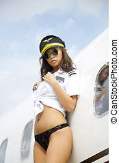 Beautiful Asian pilot woman - Sexy Asian woman in flight...