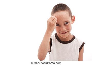 shy thinking boy isolated on white