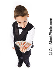 boy playing pocker isolated over white