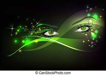 Glamour eyes - Dark background with beautiful green glamour...