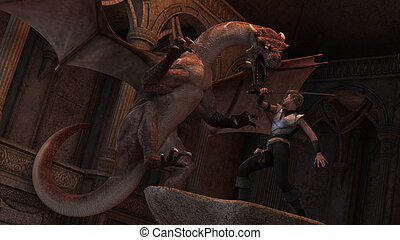 Dragon slayer - 3D rendered scene of fight warrior with...