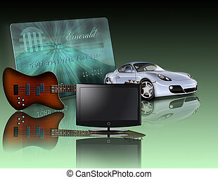 Credit card, car, flat panel and guitar all items are not...