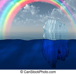 Iceberg with rainbow scene