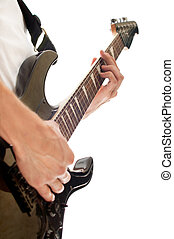 male hand playing electric guitar