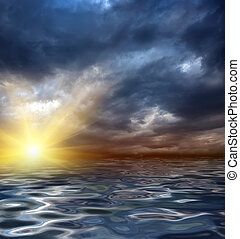 sunrise - an illustration of a sunrise or sunset in the sea...