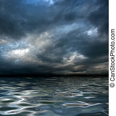 global warming - dark cloudy stormy sky with clouds and...