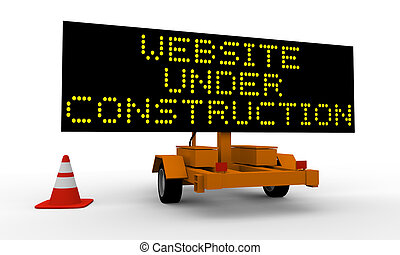 Website under construction - Cart with signboard displaying...