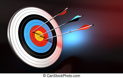 target and blue arrow hitting the center of bull's eye. 2 red arrows failed to reach the center. Black background with blue light effect