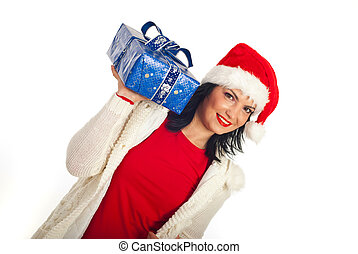 Happy woman holding Christmas gift