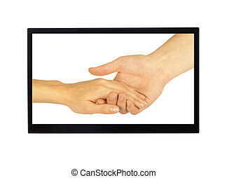 Shaking hands of two people, man and woman, in monitor...