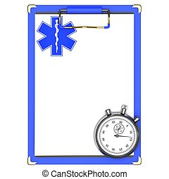 Medical clipboard and stopwatch