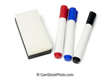 marcador, plumas, borrador
