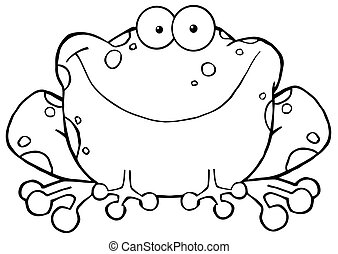 Outlined Speckled Toad Smiling - Outlined Happy Frog Cartoon...