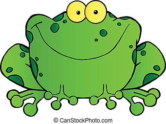 Speckled Green Frog Smiling - Fat Frog Cartoon Mascot...