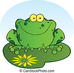 Happy Frog On A Lilypad - Happy Spotted Green Toad Smiling...