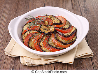 vegetables baked, eggplant and tomato