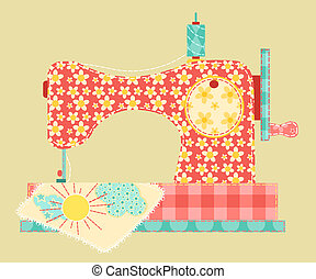 Sewing machine. Patchwork vintage series. Vector...