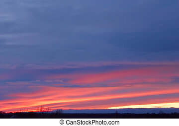 Colorful winter glow - Colorful glow in the winter sky after...