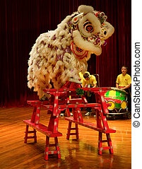 Lion dance - MACAU - APRIL 25: The traditional Chinese lion...