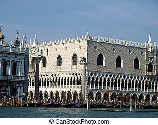 Seaview of Piazzetta, San Marco and The Doges Palace, Venice...