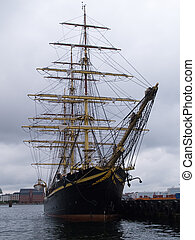 Old Style Vintage Three Masts Clipper Ship - Classical Old...