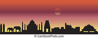 India skyline with elephants and monuments