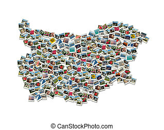 Map of Bulgaria - collage made of travel photosg