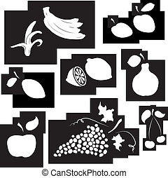 Fruit set in black and white Design element Vector...
