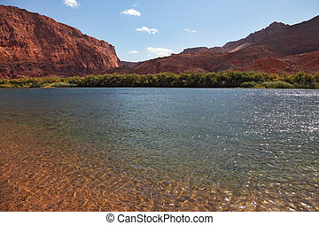 Thin water ripples - Bottling the Colorado River Thin water...