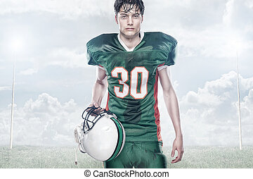 American football - Young american football player