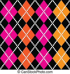 Retro colorful argile pattern - orange and pink on black...