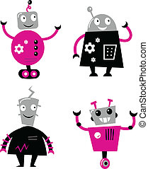 Cute retro robots set isolated on white ( pink and black ) -...