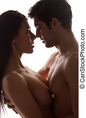 Topless Couple Portrait - Topless sensual young couple in...