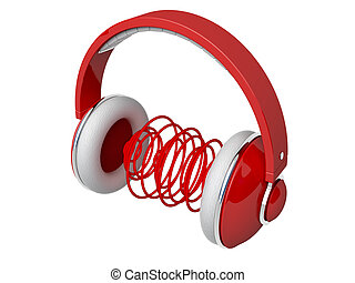 Red headphones with sound waves
