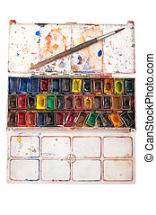 watercolors in pans