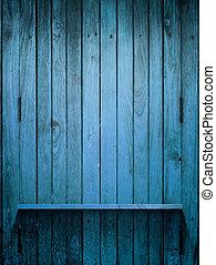 Wood blue Shelf on wall with light