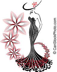 mulher, flor, vórtice