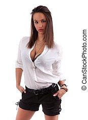 Sexy young caucasian woman posing