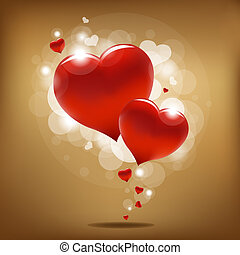 Valentines Day Background - 2 Hearts And Valentin`s Day Card...