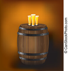 Barrel with beer glasses [Converted] - A wooden beer barrel...