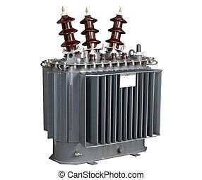 alto-voltagem, transformador, branca, fundo