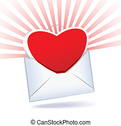 Heart and mailing envelope are on a white background.