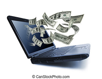 Money pouring out from a notebook computer