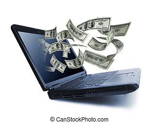 Pieniądze, zsyp, Poza, notatnik, komputer