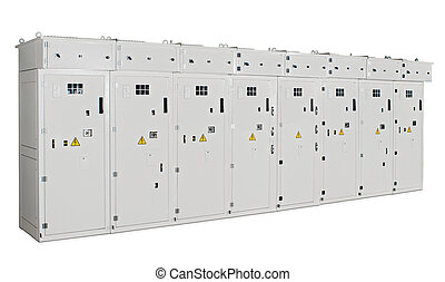 transformer cabinet of the eight sections on a white...