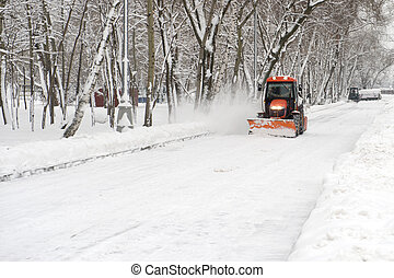 tractor snow removal - winter snow removal a small tractor...