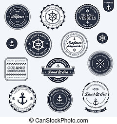 Vintage nautical labels - Set of vintage retro nautical...